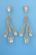 """Clear/Gold 5"""" Clip Flame Shape Earring"""