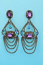 "Amethyst/Vitral Round/Oval Stone Dangle 4"" Earring"