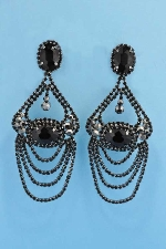 "Jet/Black Diamond Hematite Clip Big Piece 4"" Earring"
