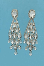 "Clear/Gold Clip Marquise Shape 4"" Earring"