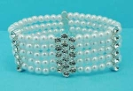 Pearl/Clear Silver Five Row Round Stone Stretch Bracelet