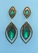 "Emerald/Gold Clip Two Linked Marquise Shape 1.5"" Post Earring"