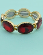 Siam Gold Large Oval Cut Stretch Bracelet