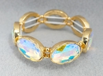 AB/Gold Large Oval Cut Stretch Bracelet