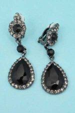 Jet/Black Diamond Round/Pear Stone Clip Earring