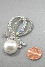 Pearl/AB/Clear Large Dangle Pearl Double Swoop Pin