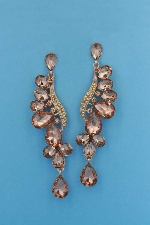 "Light Peach/Aurora Borealis Rose Gold Wing Shape Pear 2.5"" Post Earring"