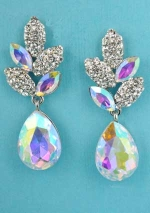 "Aurora Borealis/Clear Silver Speckled Egg Dangle 1.5"" Post Earring"