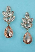 "Light Peach/Clear Gold Pear Shape 1 1/4"" Post Dangle Earring"