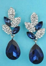 """Montana Navy/Clear Silver Speckled Egg Dangle 1.5"""" Post Earring"""