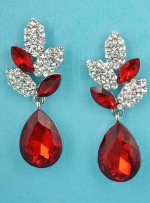 """Siam Light/Clear Silver Specled Egg Dangle Post Earring 1.5"""""""