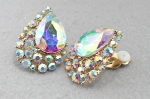 AB/Gold Tear Drop With Small Stone Side Cluster Clip Earring