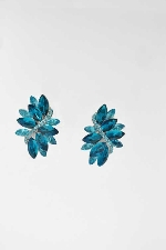 Blue Zircon/Silver Clip Big Leaves Shape Earring