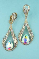 Aurora Borealis/Gold Round/Pear Stone Drop Shape Earrings