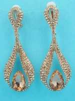 Light Peach/ Round/Peach Stone Drop Shape Earring
