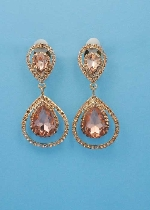 Peach/Gold Pear Stone Earring
