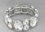 Clear Silver Thick Two Stone Stretch Bracelet