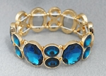 Blue Zircon/Gold Thick Two Stone Stretch Bracelet