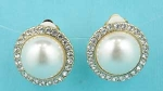 "Pearl/Clear Gold Ivory Clip Single Single Pearl/Round Stone Around 1"" Earring"