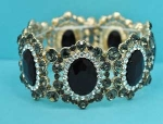 Jet/Black Diamond Gold Big Oval Stone Mirror Stretch Bracelet