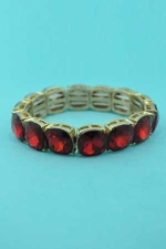 Siam Dark/Gold Mine Stone 1 Line Stretch Bracelet