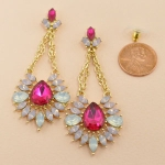 Fuchsia Gold Tear Drop Dangle With Chain Post Earring