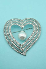 Clear/Silver Round/Pearl Stone Heart Shape Pin