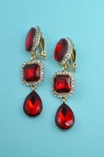 Siam/Clear Silver Oval/Radiant/Pear Stone Earring