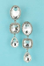 Clear Silver Oval/Radiant/Pear Stone Clip On Earring