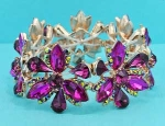 Fuchsia/Siam AB Gold Flower Shape Stretch Bracelet