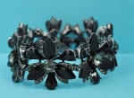 Jet/Black Diamond Hematite Flower Shape Stretch Bracelet