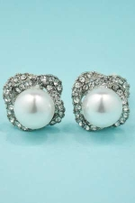 Pearl/Clear Tri Circules Round Stone Earring