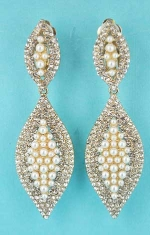 "Pearl/Clear Gold Clip Two Marquise Shape1.5"" Earring"