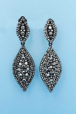 "Black Diamond/Black Clip Two Marquise Shape Round Stone 1.5"" Earring"