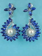 "Pearl/Sapphire Silver Clip Multiple Leaves Shape 3"" Earring"