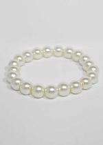 Pearl/ One Line 10MM Glass Pearl Stretch Bracelet