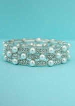 Pearl/Clear Silver Rectangle Round Stone Stretch Bracelet
