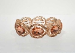 Light Peach/Rose Gold One Row Teardrop Stretch Bracelet