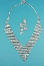 Clear/Silver Multiple Row Round Stone Set