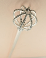 Clear/Silver Rhinestone Queen Of Rods With Gemmed Top Sceptor