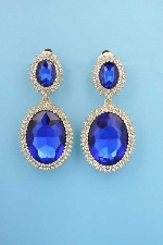 "Sapphire/Clear Gold Clip Two Linked Oval 2.5"" Earring"