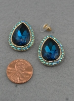 Blue Zirconia Egg Post earring