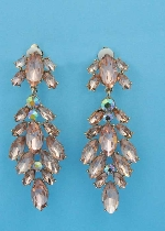 "Light Peach/Aurora Borealis Rose Gold Clip Mulitple Marquise Stone 3"" Earring"