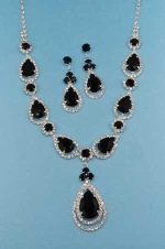 Jet/Clear Silver Pear/Round Stone Long Set
