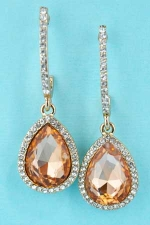 Light Peach/Clear Gold Medium Pear Stone Post Earring