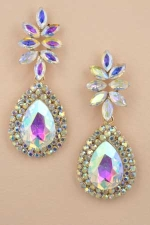 "AB  Gold Marquise Stone/ Double Halo Pear Stone 2&1/8"" Dangle Post Earring"