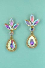 AB Clear Gold Pear Stone Framed Earring