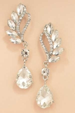 """Clear Silver Two Line Marquise Swoop Pear Stone 2&3/8"""" Dangle Post Earring"""