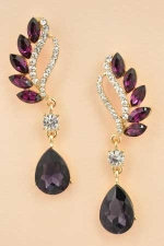 "Amethyst/ Gold Two Line Marquise Swoop Pear Stone 2&3/8"" Dangle Post Earring"
