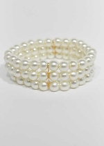 Pearl/Gold 3 Line 8mm Glass Pearl Stretch Bracelet